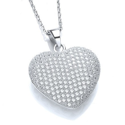 "Micro Pave' Heart Pendant with 18"" Chain"