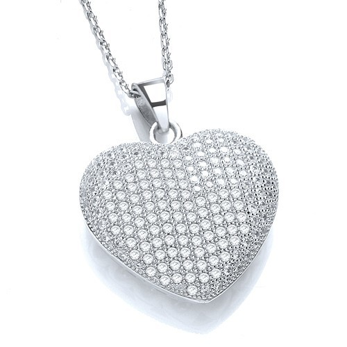 """Micro Pave' Heart Pendant with 18"""" Chain"""