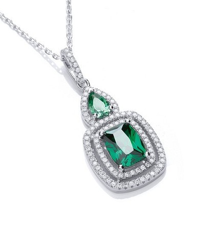 "Micro Pave' Fancy Pendant Green Cz with 18"" Chain"