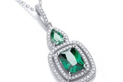 """Selling: Micro Pave' Fancy Pendant Green Cz with 18"""" Chain"""