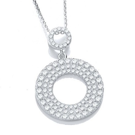 "Selling: Micro Pave' Circle of Life Cz Pendant with 18"" Chain"