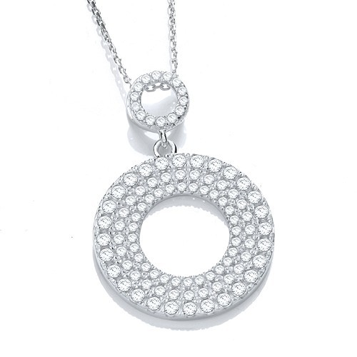 "Micro Pave' Circle of Life Cz Pendant with 18"" Chain"