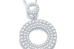 """Selling: Micro Pave' Circle of Life Cz Pendant with 18"""" Chain"""