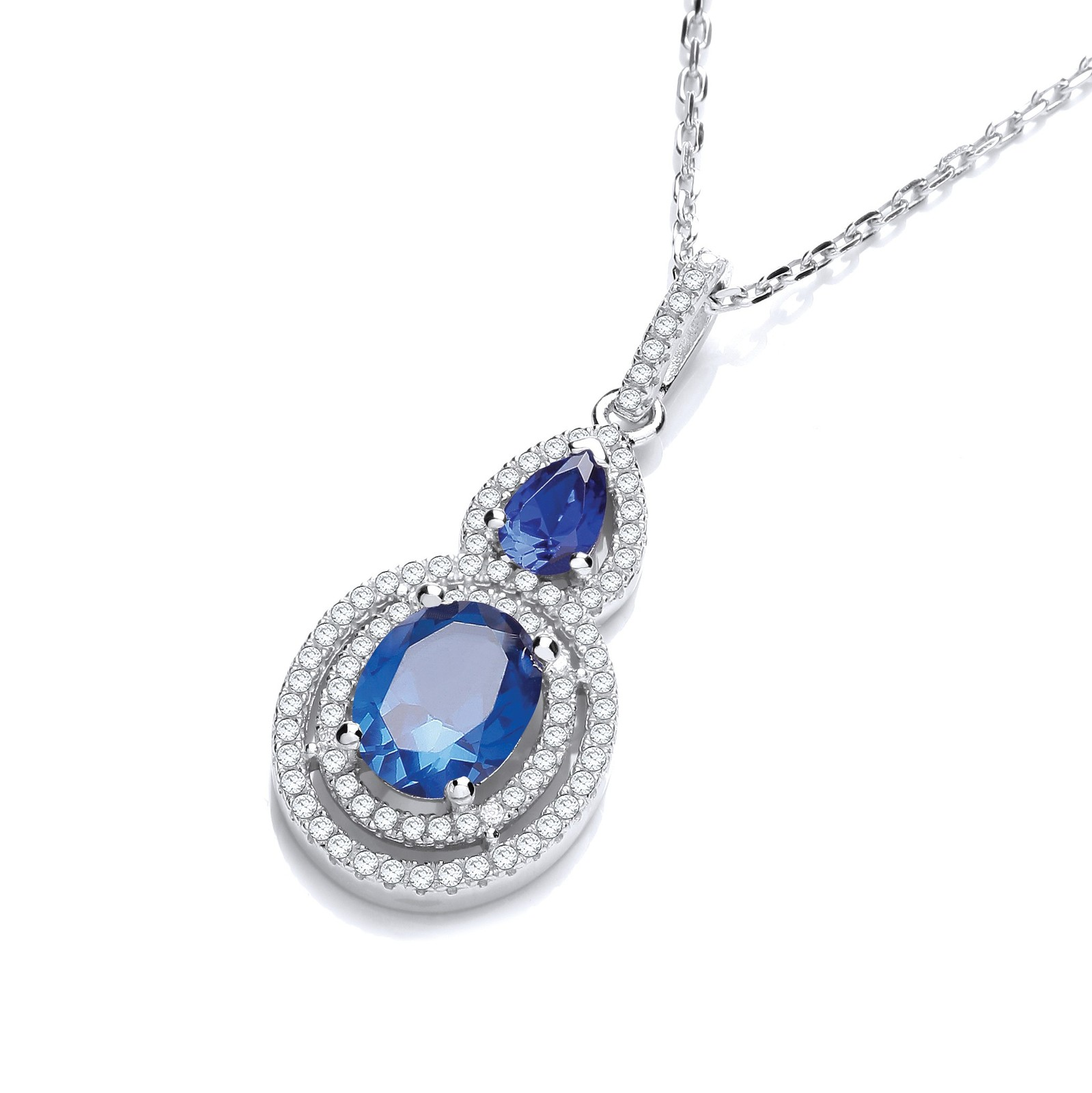 """Micro Pave' Sapphire & White Drop Pendant with 18"""" Chain"""