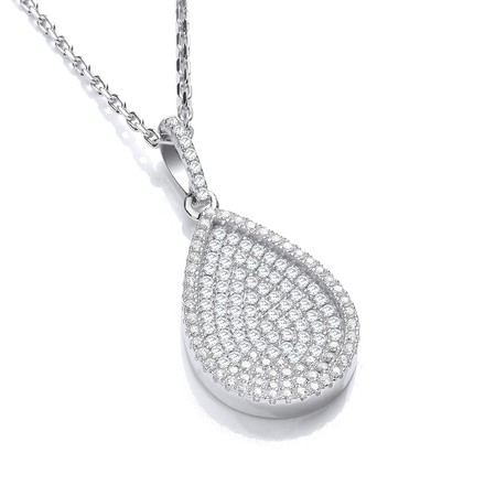 "Micro Pave' Pear Shape Pendant with 18"" Chain"