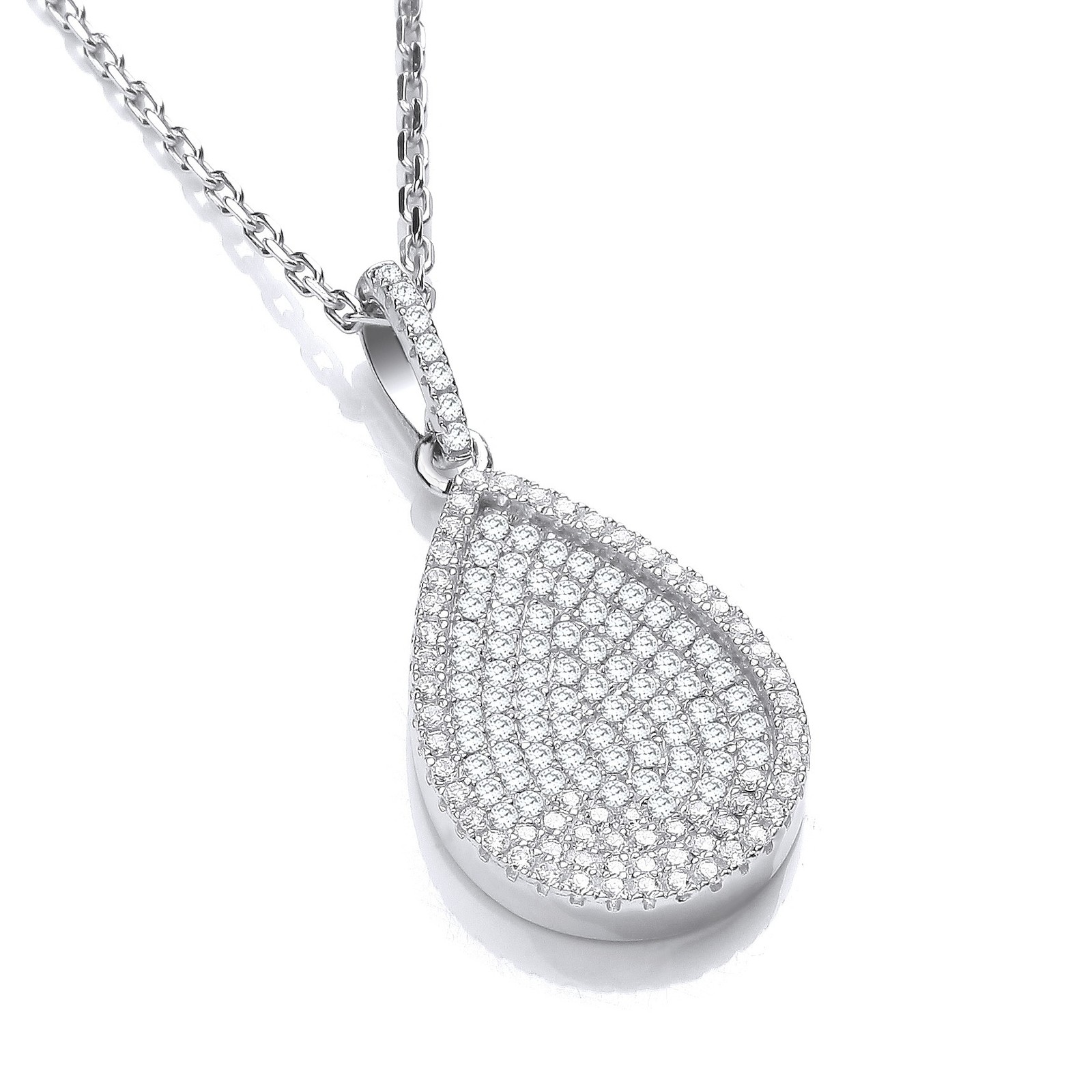 """Micro Pave' Pear Shape Pendant with 18"""" Chain"""