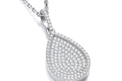 """Selling: Micro Pave' Pear Shape Pendant with 18"""" Chain"""