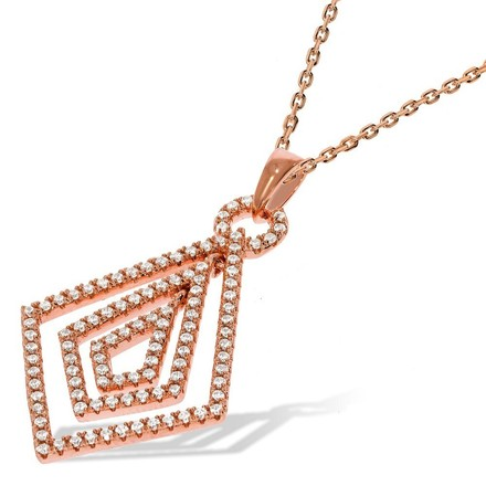 "Micro Pave Rose Coated Fancy Cz Pendant with 18"" Chain"