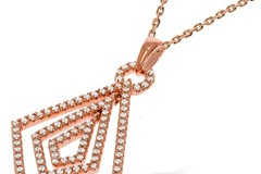 """Selling: Micro Pave Rose Coated Fancy Cz Pendant with 18"""" Chain"""