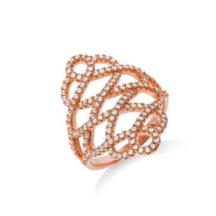 Selling: Micro Pave Rose Coated Fancy Silver Cz Ring
