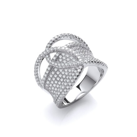 Selling: Micro Pave Cz Interlocking Top Silver Ring