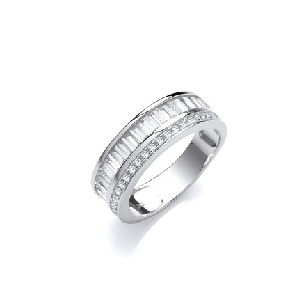 Selling: Half ET Baguette and Round Cz's Silver Ring