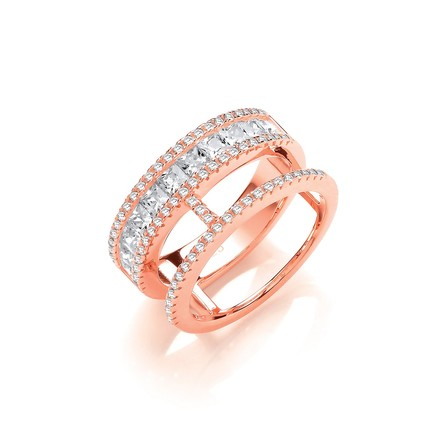 Selling: Princess Cut and Round Pave Cz RG Plated Silver Ring