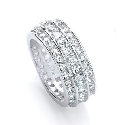Selling: Full ET 3 Row Rd/Princess/Rd Chanell Set Cz Ring