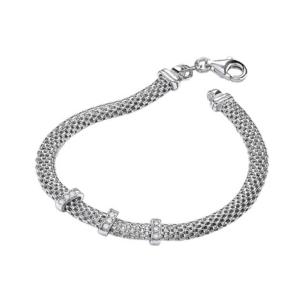 """Selling: Silver Mesh with Cz's 7""""/19cm Bracelet"""