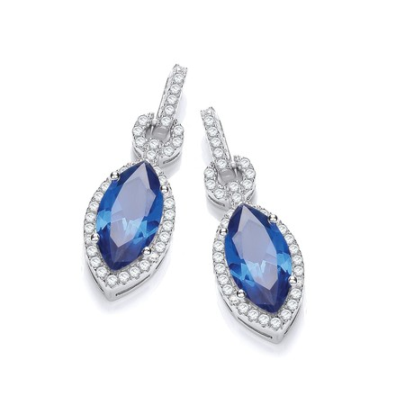 Selling: Micro Pave' Sapphire & White CZ Drop Earrings