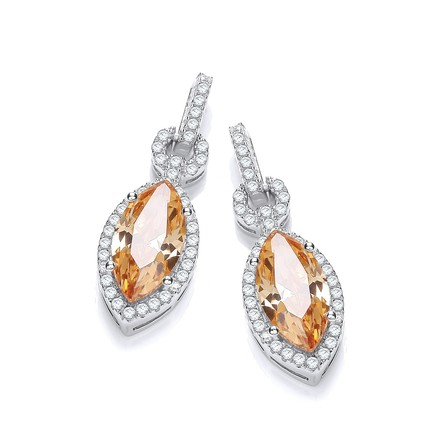 Selling: Micro Pave' Champagne & White CZ Drop Earrings