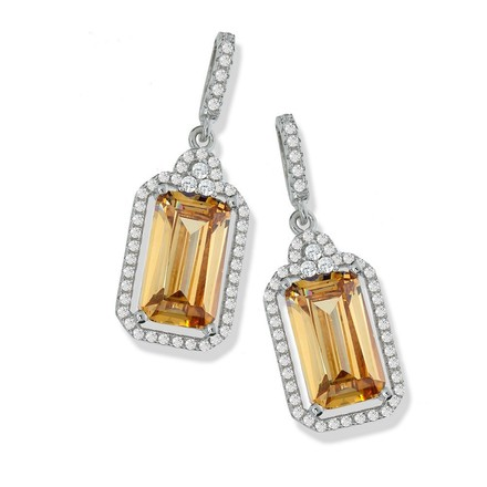 Selling: Micro Pave Champagne Centre Drop Cz Earrings