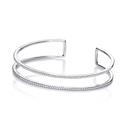 Selling: Micro Pave' Two Row Cz Cuff Silver Bangle