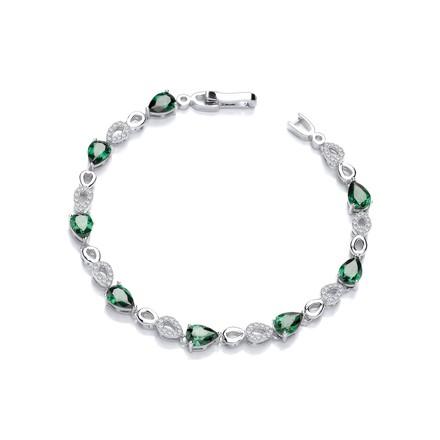 Green Teardrop CZ's Silver Ladies Bracelet