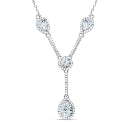 """Selling: Silver Tear Drops & Round Cz's Necklace 18"""""""