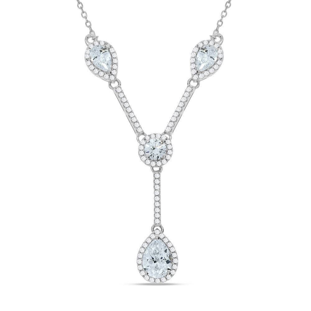 """Silver Tear Drops & Round Cz's Necklace 18"""""""