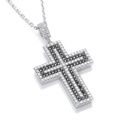 Micro Pave' Black & Clear CZ Cross with Chain