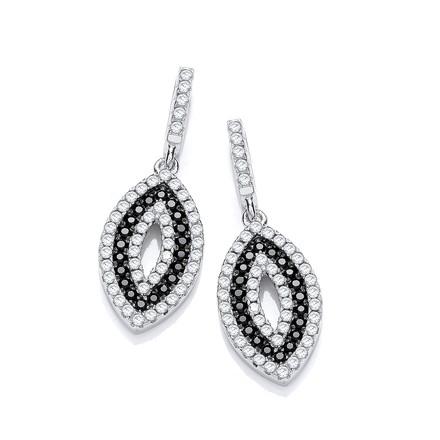 Selling: Micro Pave' Black & White CZ Drop Earrings