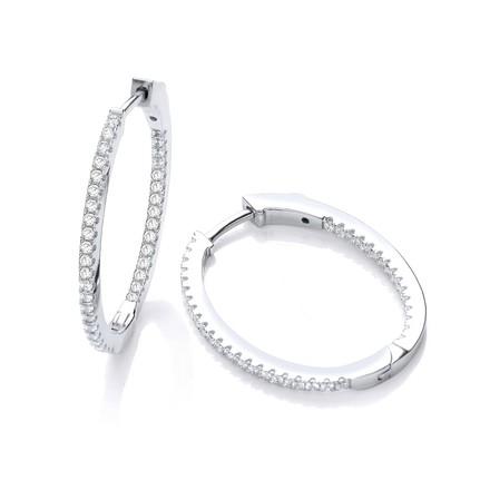 Selling: Micro Pave' Oval Hoop Cz Earrings