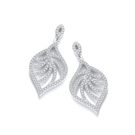 Selling: Micro Pave'  Leaf Shape Earrings