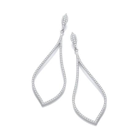 Selling: Micro Pave' Long Tear Drop Cz Earrings