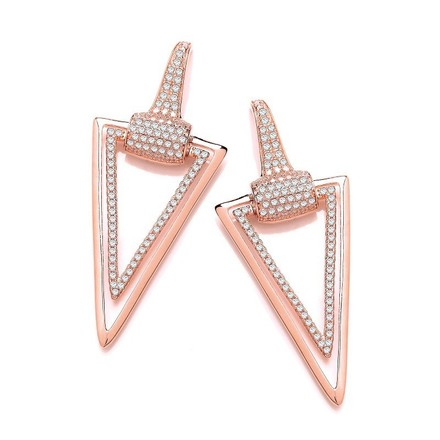 Selling: Rose Gold Coated Silver Triangle Drop Cz Earrings
