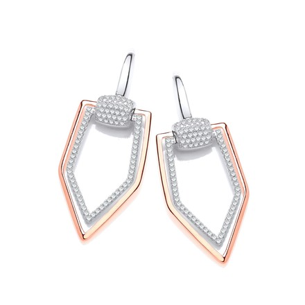 Selling: Rose Coated Micro Pave Cz Drop Silver Earrings