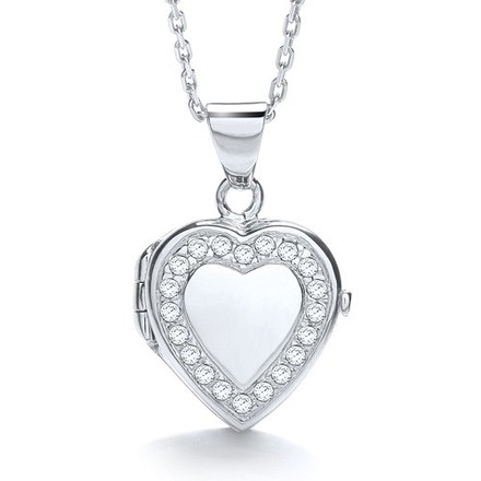 Heart Shape with Line of Cz's Locket