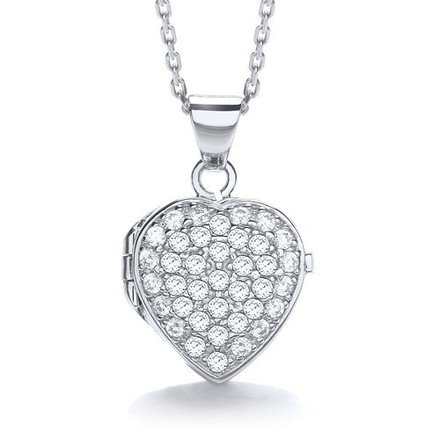 Selling: Heart Shape All Cz's on Front Locket