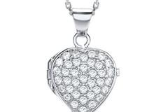 Selling: Heart Shape All Cz's on Front Locket