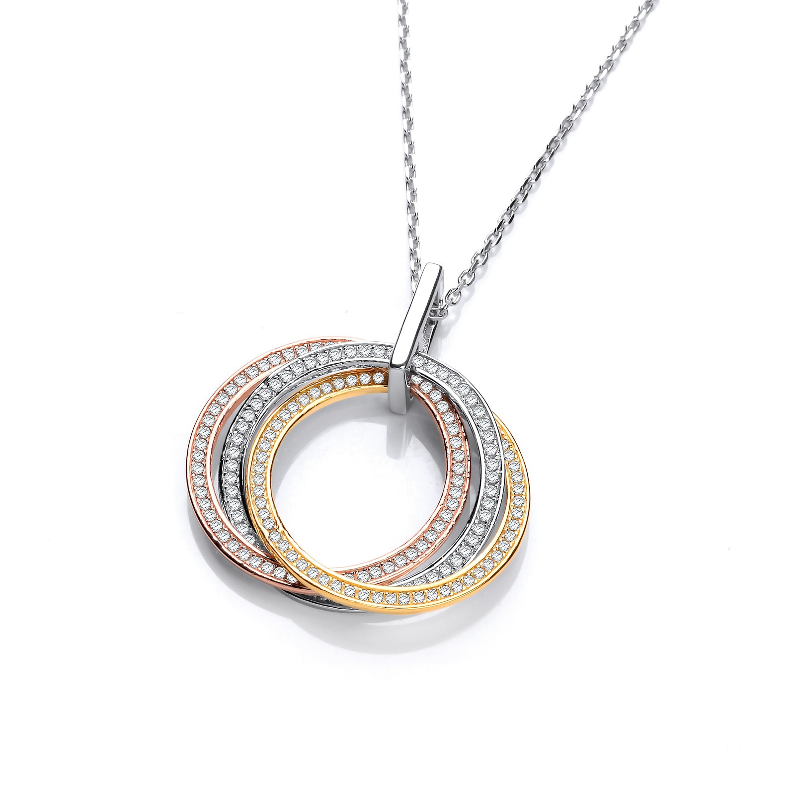 "Silver, Yellow & Rose Gold Plated Cz Pendant with 18"" Chain"