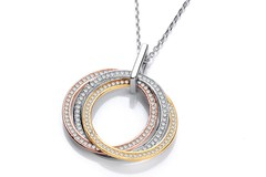 """Selling: Silver, Yellow & Rose Gold Plated Cz Pendant with 18"""" Chain"""