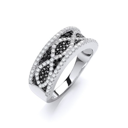 Selling: Micro Pave' Black/White Cz Ring