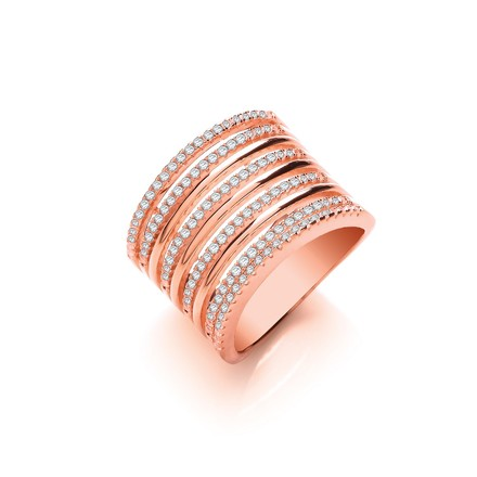 Selling: Micro Pave 9 Rows, Rose Coated Silver Ladies Ring