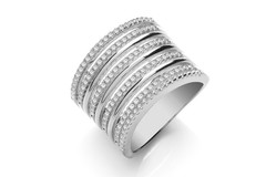 Micro Pave 9 Rows, Silver Ladies Ring