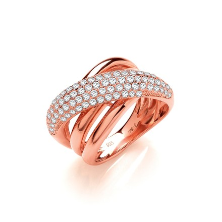 Rose Coated Intertwined Design Silver Cz Ring