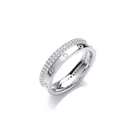 Double row Micro Pave Cz Fancy Silver Ring