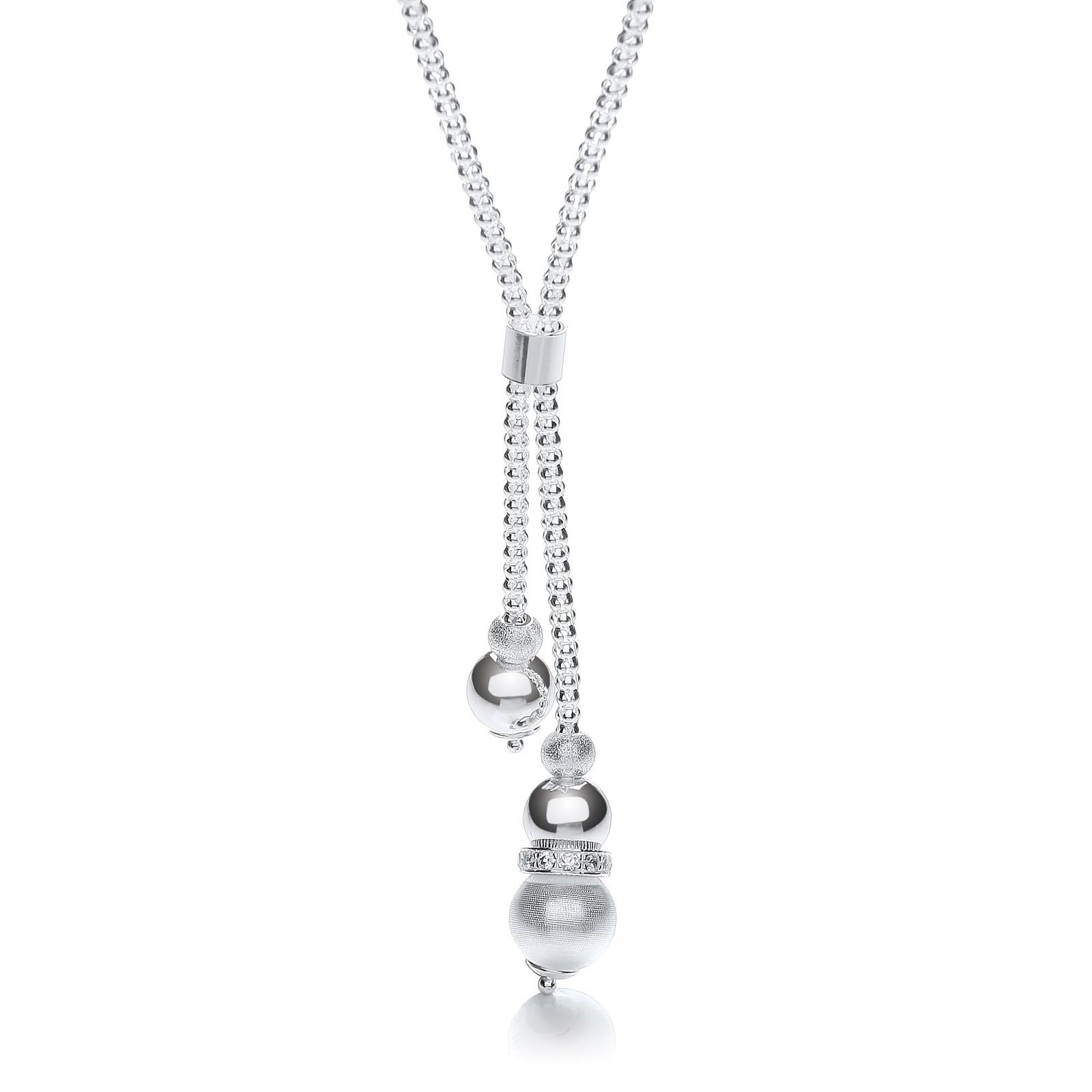 Silver Milgrain Ball & Moondust Beads Drop Chain