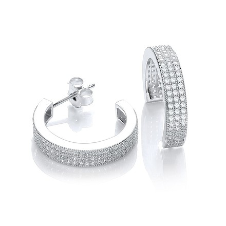 Selling: Micro Pave' Square Cz Half Tube Hoop