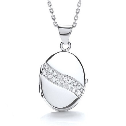 Selling: Oval Shape with 2 Row of Cz's Across Locket