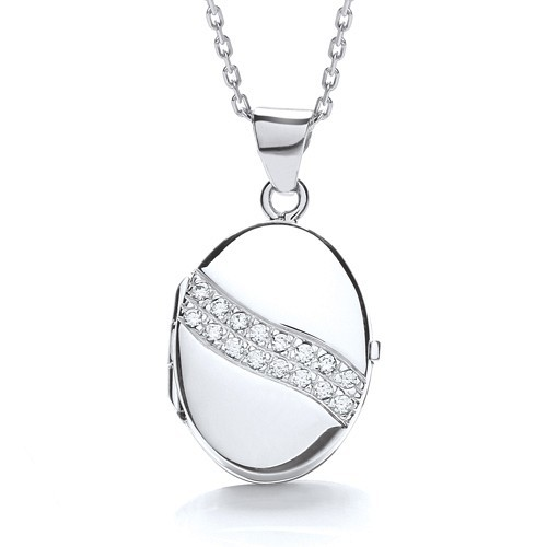 Oval Shape with 2 Row of Cz's Across Locket
