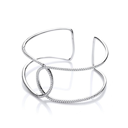 Selling: Micro Pave' Two Row Cz Interlocking Cuff Silver Bangle