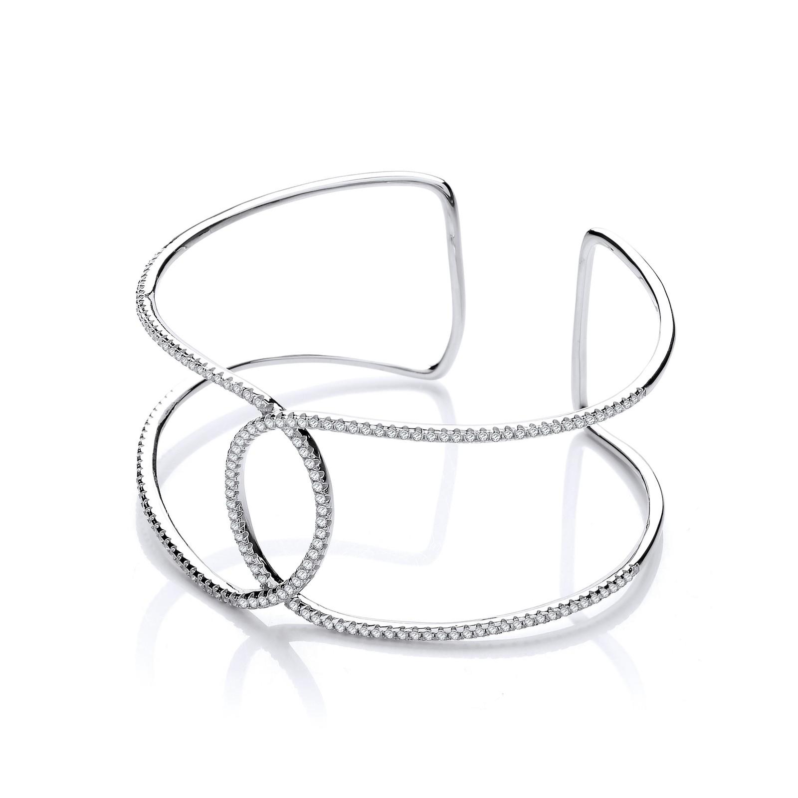 Micro Pave' Two Row Cz Interlocking Cuff Silver Bangle