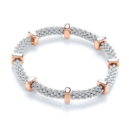 Selling: Silver Mesh & Rose Disc Colour Bracelet